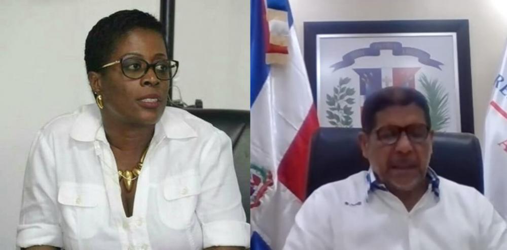 La Directora de Cooperación Internacional del Ministerio de Agricultura, Recursos Naturales y Desarrollo Rural de Haití, Nadège Dorival Montissol, y elEl Ministro de Agricultura de República Dominicana, Limber Cruz López.